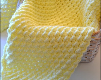 Yellow Crocheted Baby Blanket Honeycomb Afghan Lap Blanket Gender Neutral Baby Shower Gift Couverture Colcha de Bebe