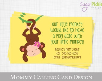 Kids business cards etsy play date calling card monkey design kids calling card business card for moms colourmoves Gallery
