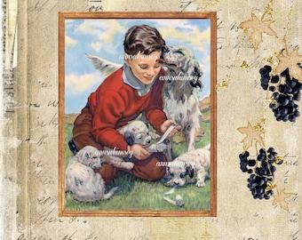 "Boys Room Art, Dogs and Doctor Boy, Family Room Art, BedroomArt, Veterinarian Gift,  ""Grateful Thanks"" Restored Art #503 FREE SHIPPING"