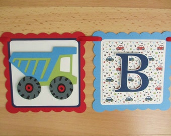 Transportation Vehicles Birthday Party Shower Banner Sign Red Royal Blue Green