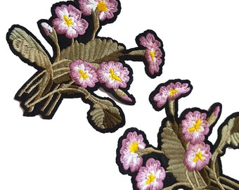 2 Iron On Embroidered Violet Purple Flowers Patches Appliques