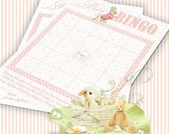 PETER RABBIT BINGO Beatrix Potter Baby Shower Bingo Game Pink Printable Digital Instant Download 1002