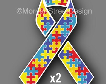 """Two Autism Awareness Ribbons 3"""" Vinyl Decal Sticker"""
