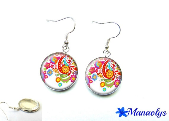 Earrings designs and colorful flowers, 2838 glass cabochons