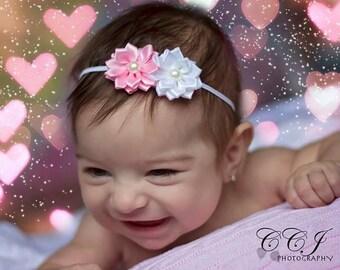Newborn Photo Prop, Pink Flower Headband, Baby Girl Headband, Flower Girl Headband, Mini Flower Headband, Small Headband, Newborn Headband