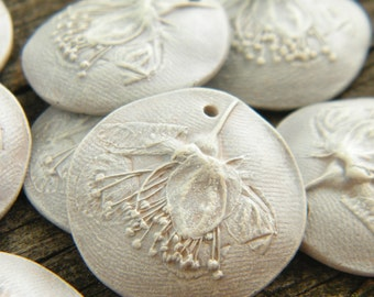 PRE-ORDER Silvery Gossamer White - Wild Rose rustic boho chic painted pressed flower charm (pre-order - ships in 2-3 weeks)