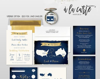 Destination wedding invitation Map Style Wedding Invitation Two Hearts  RSVP bilingual Navy Faux-gold Blue Gold DEPOSIT Payment