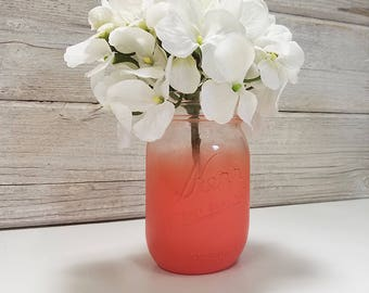 Clear Partial Painted Pint Mason Jar Flower Vase-Country Decor-Cottage Chic-Shabby Chic-French Chic