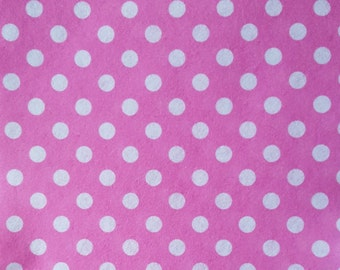 "Printed Felt Rectangle: Pink and Polka Dots (9""x12"")"