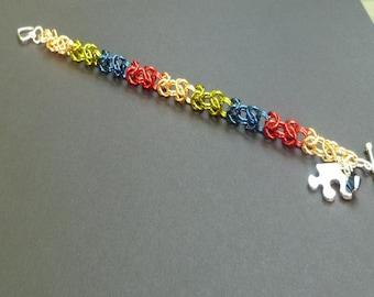 Autism Awareness Bracelet - Asperger Awareness Bracelet- Puzzle Piece Bracelet- Autism Jewelry- Light it Up Blue