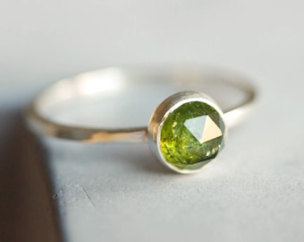 Green Tourmaline ring - skinny stackable ring with Tourmaline stone, October birthstone, sterling silver, 9k gold