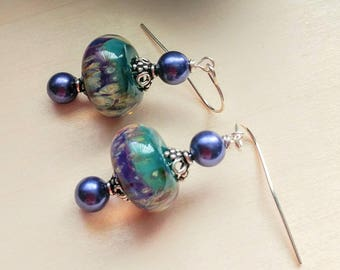 Artisan Lampwork and Glass Pearl Earrings
