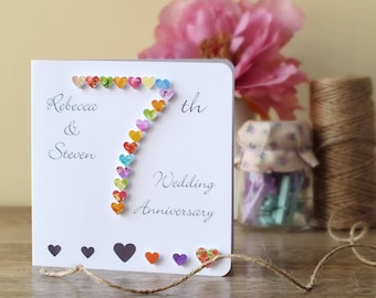 Handmade 3D 7th Wedding Anniversary Card, Personalised Seventh Anniversary Card, Husband Wife Card 7 Wedding Anniversary BHAN07 UK Seller