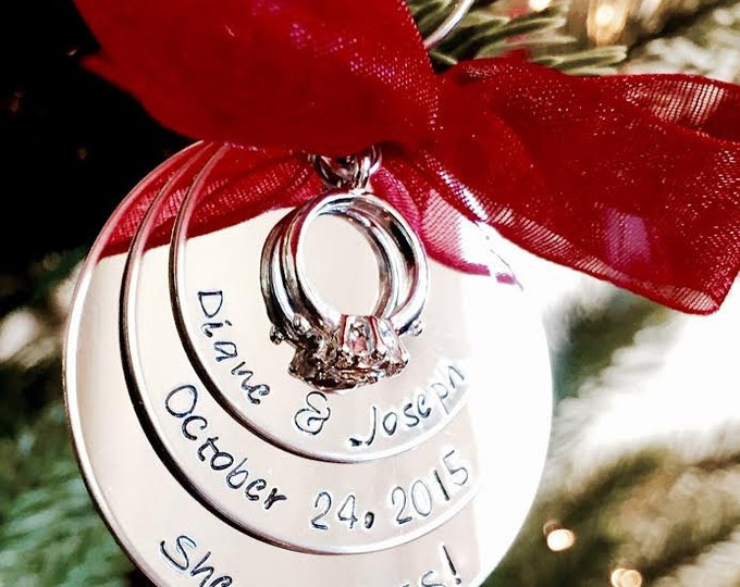 Featured listing image: SALE Personalized Christmas Ornament She said YES Engagement Ornament First Christmas as Mr. and Mrs. Husband and Wife Holidays wedding gift