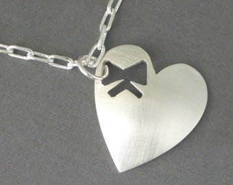 Sterling Silver Heart Necklace with Bow