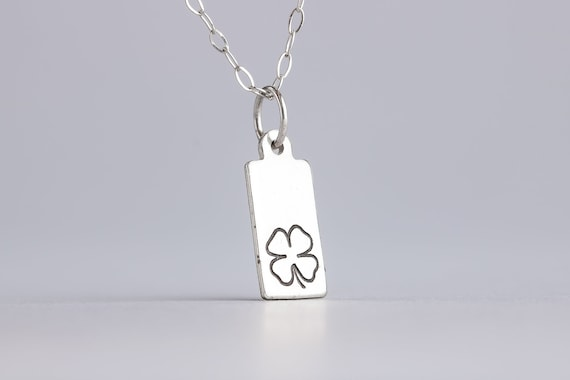 Tiny Lucky Clover Charm Necklace in Sterling Silver