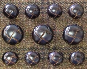 Dark Brown Leather Buttons Set for suit jacket, blazer, or sport coat. High quality!
