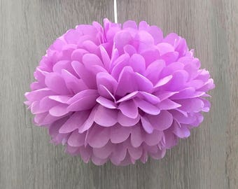 6x Orchid Tissue Paper Pom Poms Girl's 1st Birthday Party Fairy Party Wedding Bridal Shower Baby Shower Photography Hanging Decorations