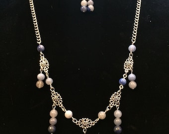 Denim Necklace and Earrings Set