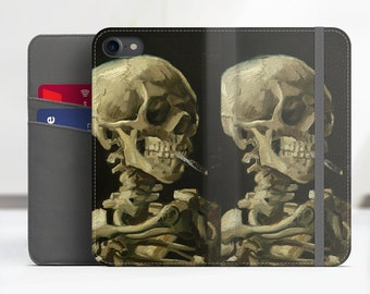 "Vincent Van Gogh ""Skeleton with Burning Cigarette"" iPhone 7 folio case Samsung Galaxy S8 folio case iPhone 8 folio Phone cover. WC-VVG-20"
