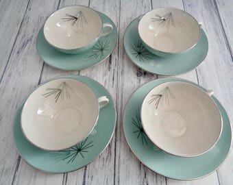 Franciscan Silver Pine China Cup and Saucer Sets, 8 Pieces, 4 Tea Cups and Saucers, Aqua Turquoise Atomic Star Dishes, Valentines Day Gift