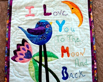 Baby Nursery Quilt Art Quilt Wall Décor Love You to the Moon and Back Nursery Childrens Room Blue Pink Purple Baby Moon
