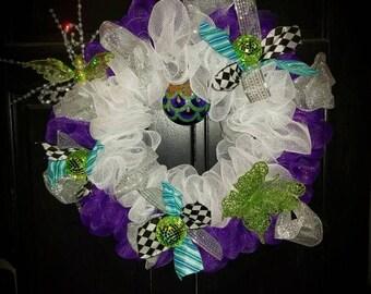 Purple & White Whimsical Wreath