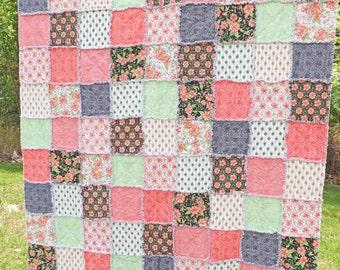 Twin Size Rag Quilt- Pink and Green Twin Quilt - Pink and Green Quilt - Pink and Green Twin Quilt - Pink Floral Quilt -Girl Rag Quilt