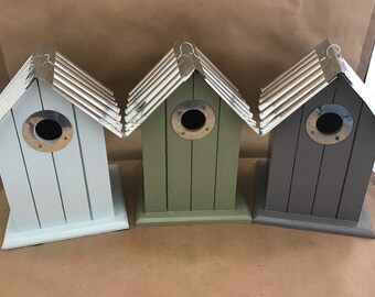 Bird House Nesting Box Hand Painted Pastel Colours