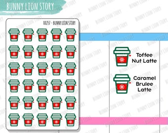 00257 | 30 Red Cups Seasonal Holiday Drinks Christmas Starbucks Schedule Cute Kawaii Agenda Diary Journal Scrapbook Happy Planner Stickers