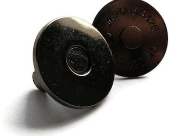 Magnetic Snap 100 sets 18mm 2 mm thin Black-Colored Gun Metal