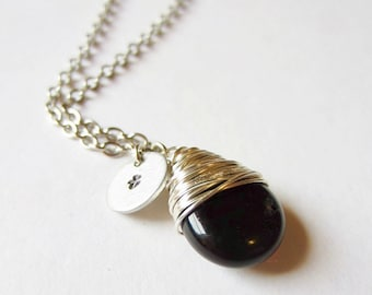 Garnet Necklace Wire Wrapped Pendant January Birthstone Necklace Wire Wrapped Jewelry Handmade Initial Jewelry