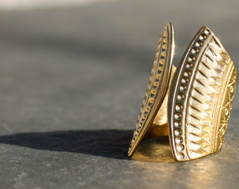 Tribal Ring, Shiny Gold Plated 24k Ring, Ethnic Jewelry, Golden Engraving Ring, Adjustable Ring