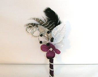 On Sale Eggplant Purple, Silver and Black Wedding Boutonniere or Corsage