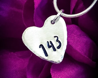 143 Hand Stamped Necklace. Heart Necklace, I Love You Necklace, Love Necklace, Love Jewellery, Girlfriend Gift, Wife Gift, Heart Jewellery