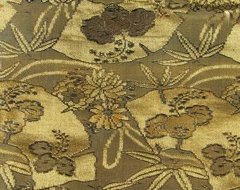 Vintage Japan Brocade Kimono Obi Sash Olive Gold Black Fan Flowers Leaves