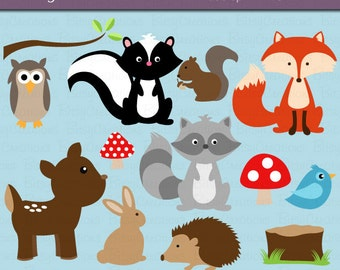 Woodland Animals Digital Art Set Clipart Commercial Use Clip Art INSTANT Download Woodland Animal Clipart Forest Animals