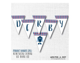 Derby Pennant Banner, Printable, Go Baby Go, Party Decor, Sign, Jockey, Digital Download, File, Horse Race Decoration