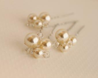 Pearl Hairpins, Swarovski Hairpins, Hairpins, Swarovski Pearl Hairpins, Bridal Hairpins, Wedding Hair Pins, Pearl Bridal Hair Pins