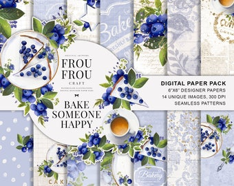 Coffee Paper Pack Bakery Planner Stickers Watercolor Floral Designer Paper Pad Kitchen Wall Art Blueberry Berries Fabric Hand Painted Pastel