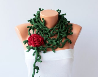 Thorny crochet  necklace scarf , crochet lariat scarf ,crochet jewelry  scarf,gift