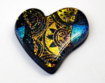 Dichroic Heart Cab, Dichroic Cabochon, Heart Cabochon, Steam Punk Glass Heart, Mosaic Glass Tile, Handmade Heart Tile