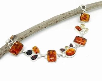 ON SALE Amber, garnet, citrine multistone bracelet set in sterling silver 92.5. natural authentic stones. adjustable length lobster clasp.
