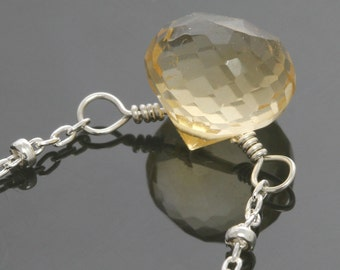 CLEARANCE. Citrine Necklace. Sterling Silver. Genuine Gemstone. November Birthstone. Satellite Chain. f13n024