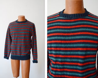 "1980s Stripe Scottish Wool Sweater -  41"" Chest"