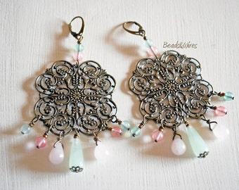 Square Filigree Earrings with pastel color quartz