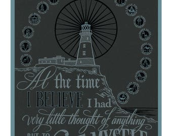 SAVE OUR SHIP oversized postcard featuring hand-lettered typography and quote by historic women lighthouse keepers