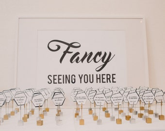 """PRINTABLE Fancy Modern Black and White Wedding Poster 35x24"""" for Seating Chart  -  Digital Files - Can be customized"""