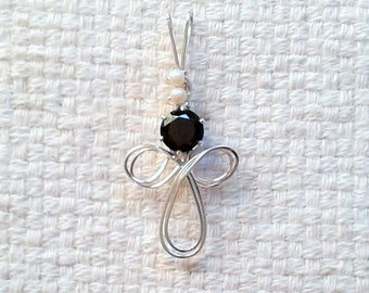 "Handmade Sterling Silver and Black CZ Pendent - Wire-Wrapped - 1 3/4"" x 7/8"" - 8 mm CZ - 3 mm Vintage Faux Pearls                  04/2018"