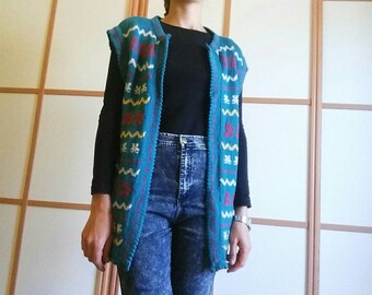 VINTAGE 70's knitted vest//hippie style